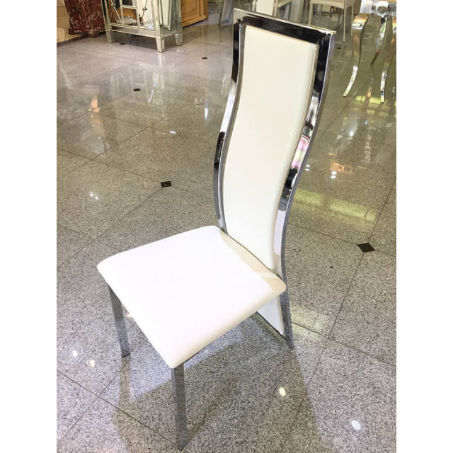 High Back Dining Chair / ハイバックダイニングチェアー - クロコダイル調/ホワイト|IB Selection|CAI0013