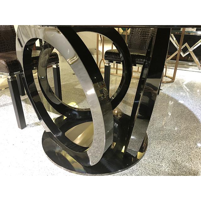 Dining Table - 5 Set / 鏡面仕上げ木目調 ダイニングテーブル5点セット|クロコダイル調チェアブラウン|IB Selection|DNG0077IB