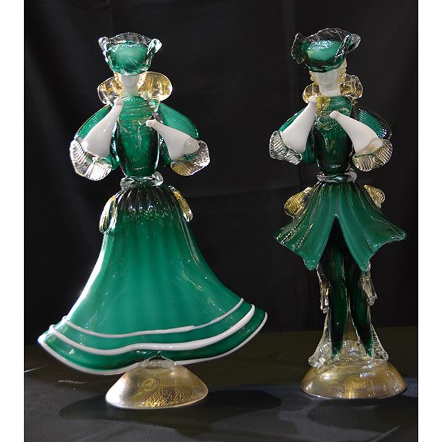 Venice Doll-ベネチアン人形|当店特注サイズ|グリーン仕上げ|男女ペア|GLS0024IB