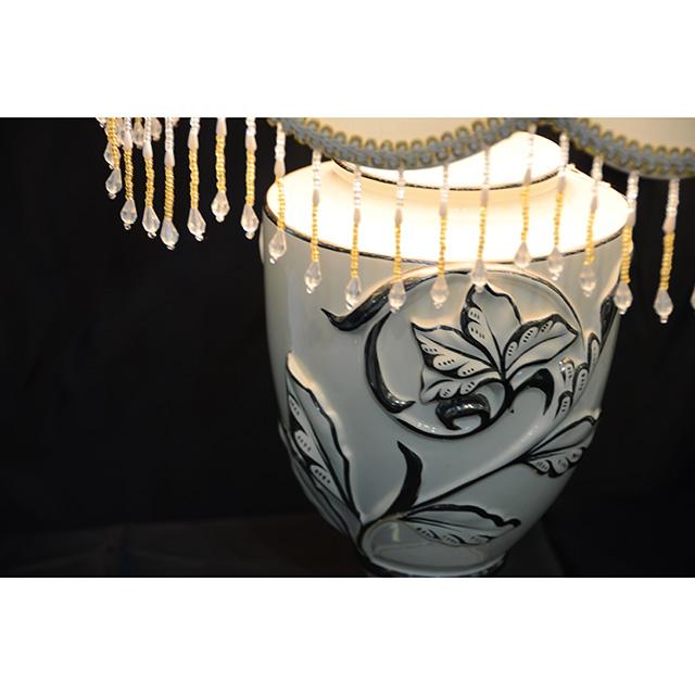 Pottery Lamp / 陶器ランプ|シェード付き|クリームホワイト×シルバー|LMP0038IB