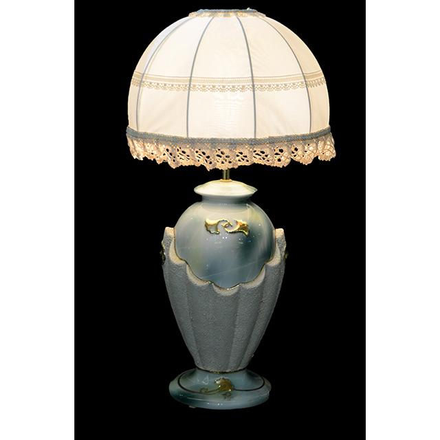 Pottery Lamp / 陶器ランプ シェード付き ブルー×ホワイト LMP0034IB